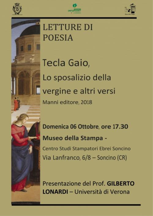 Tecla Gaio - Lo sposalizio della Vergine e altri versi